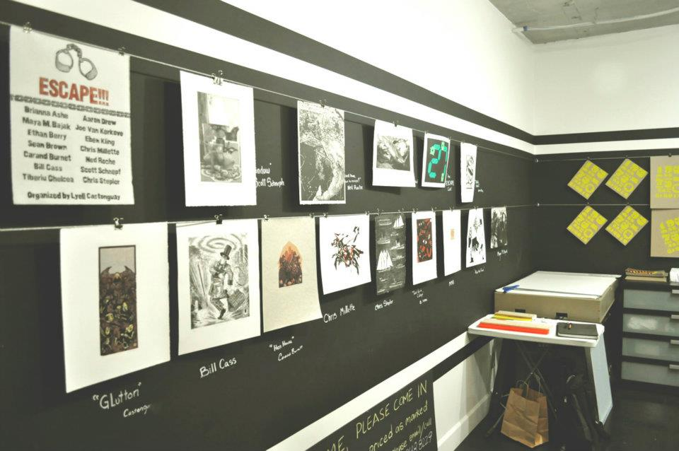 print gallery letterpress studio seattle printing events black lines cable wall paint chalk