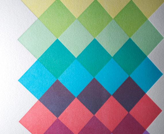colorful letterpress print poster