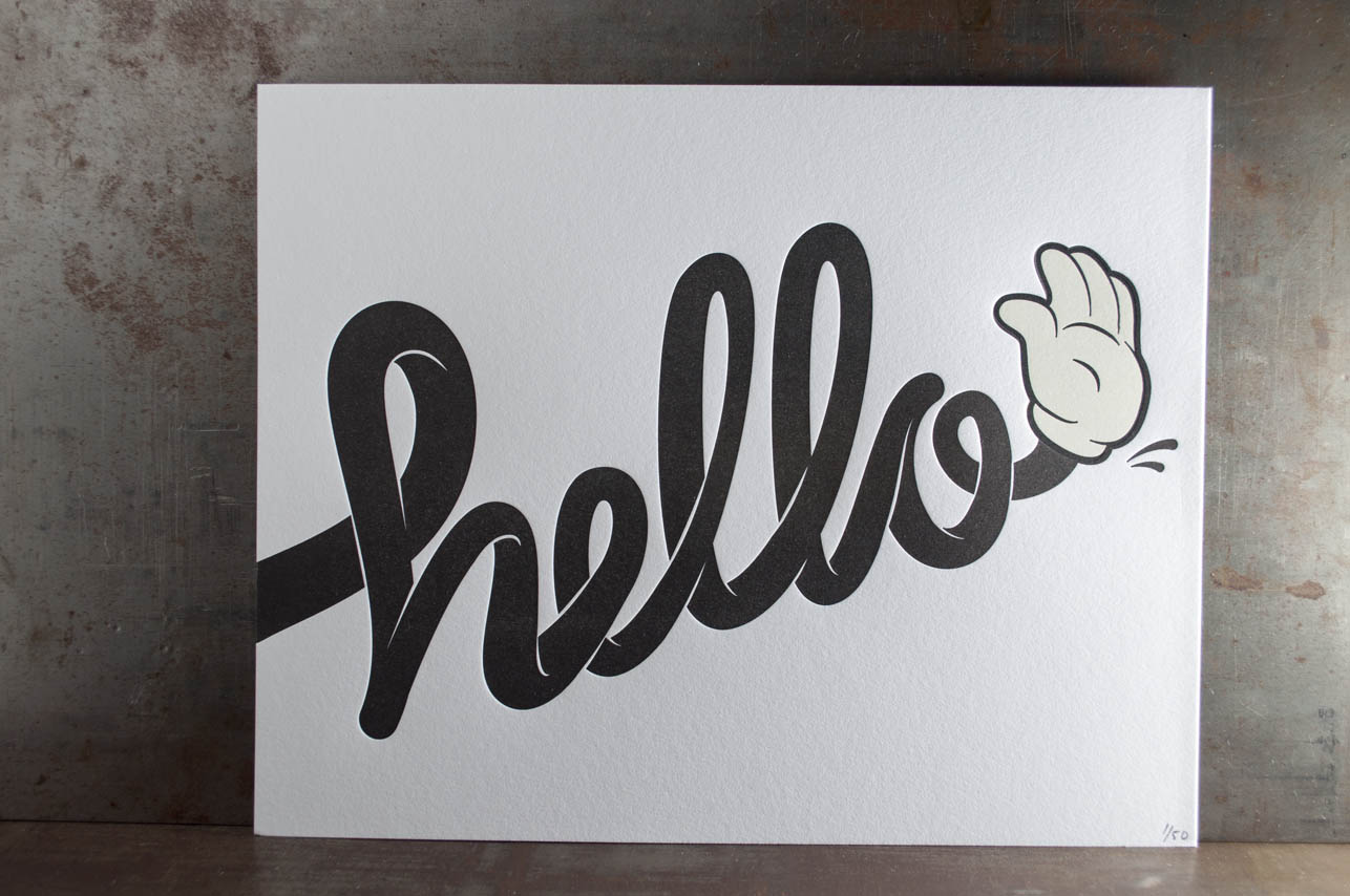 hello letterpress print