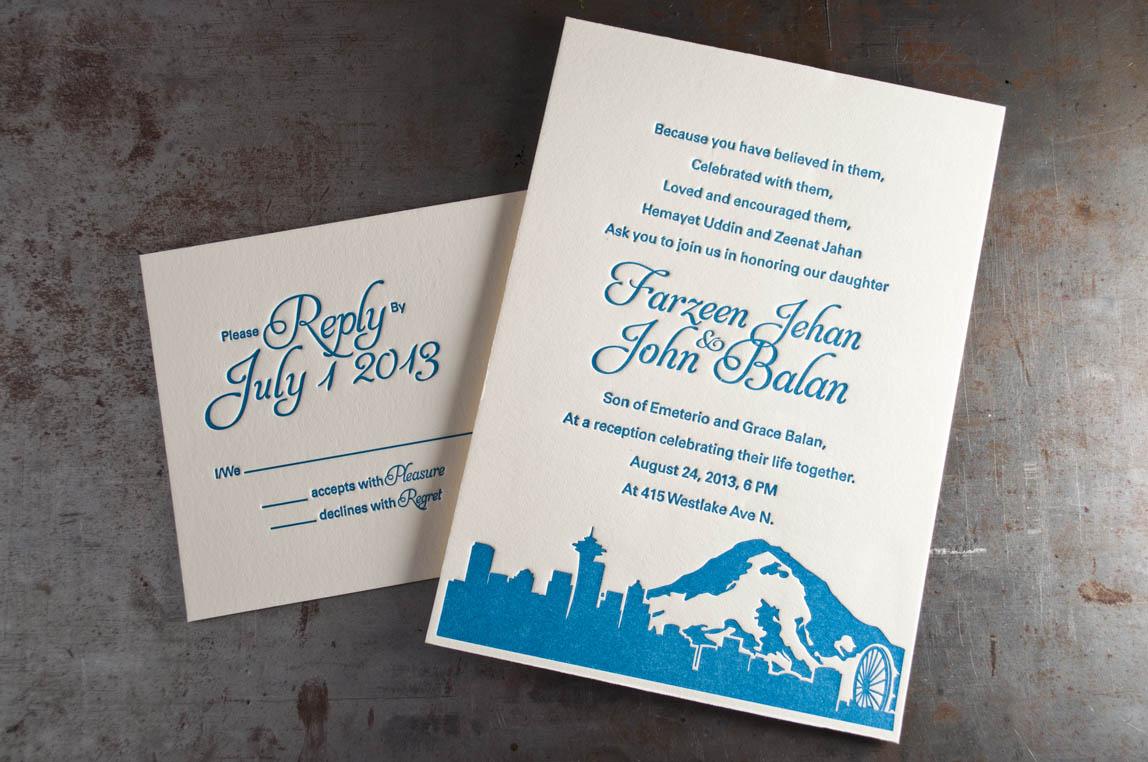 seattle skyline wedding invitations pike street press With wedding invitation printing seattle