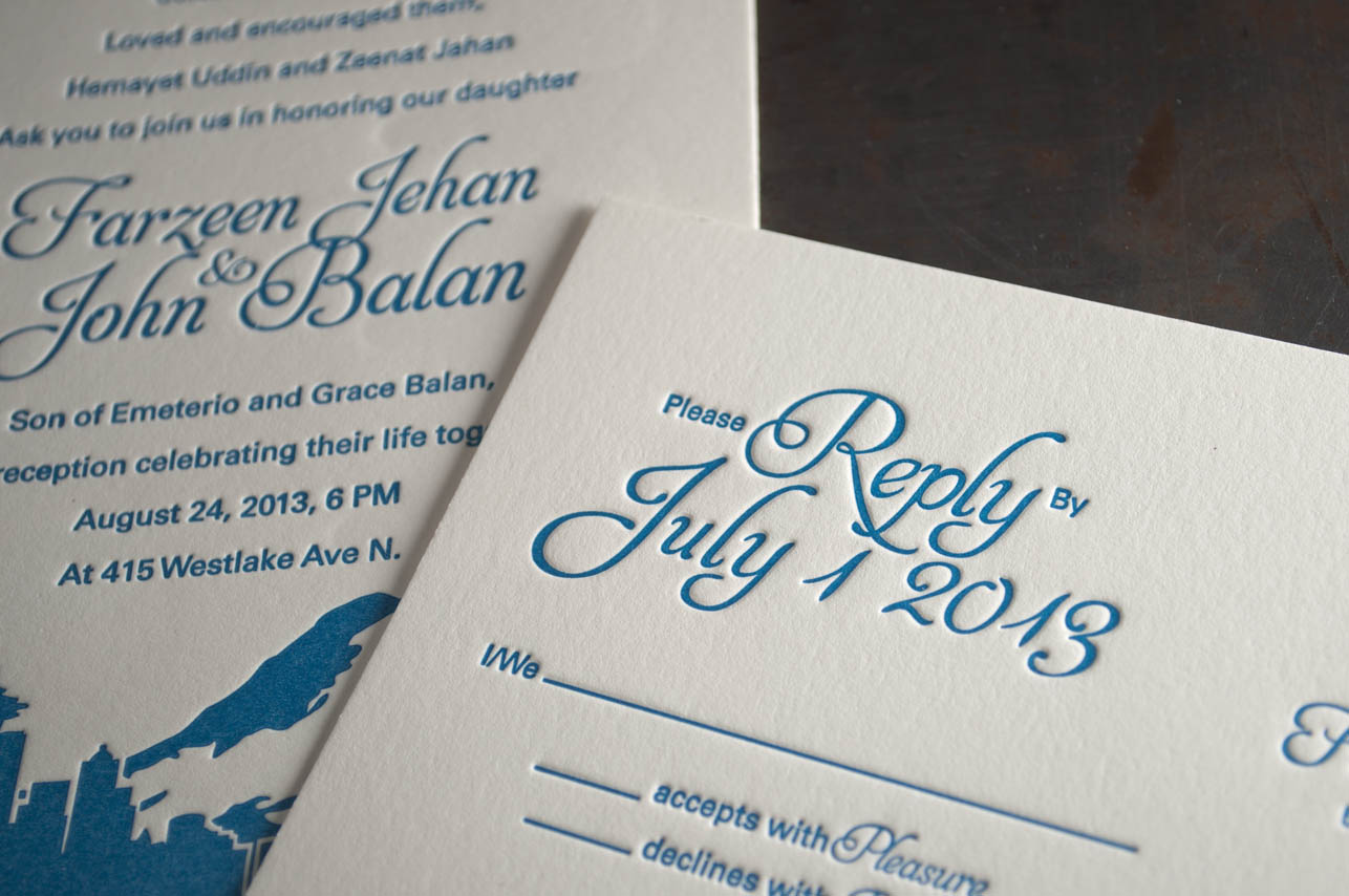 Seattle skyline wedding invitation