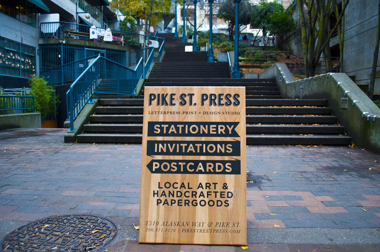 Making Wood Sandwich Board Signs | Pike Street Press: www.pikestreetpress.com/wood-sandwich-board-seattle-vinyl-sign
