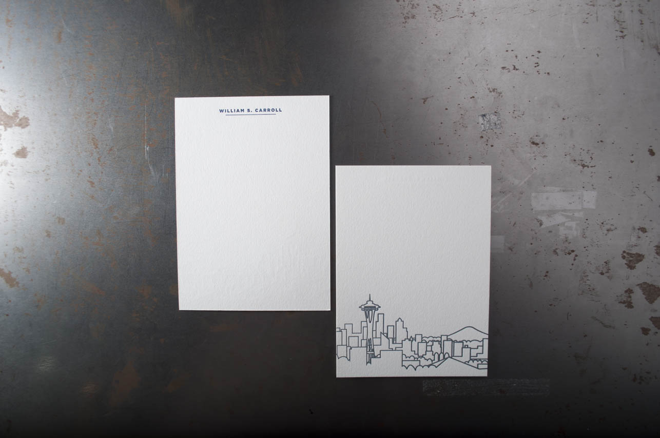 blue letterpress stationary