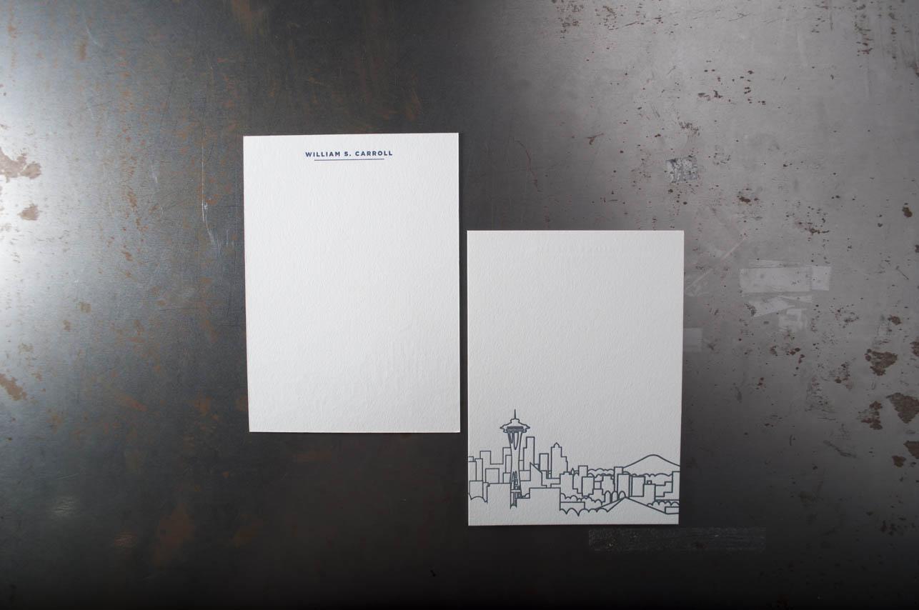 blue letterpress stationary