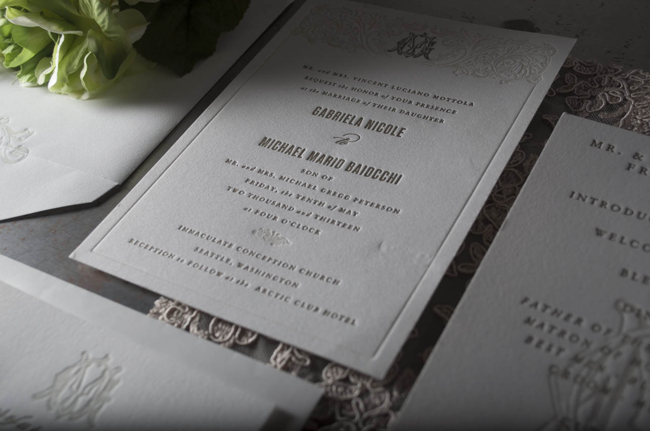 Letterpress Printing Wedding Invitations: Mike & Gabriela