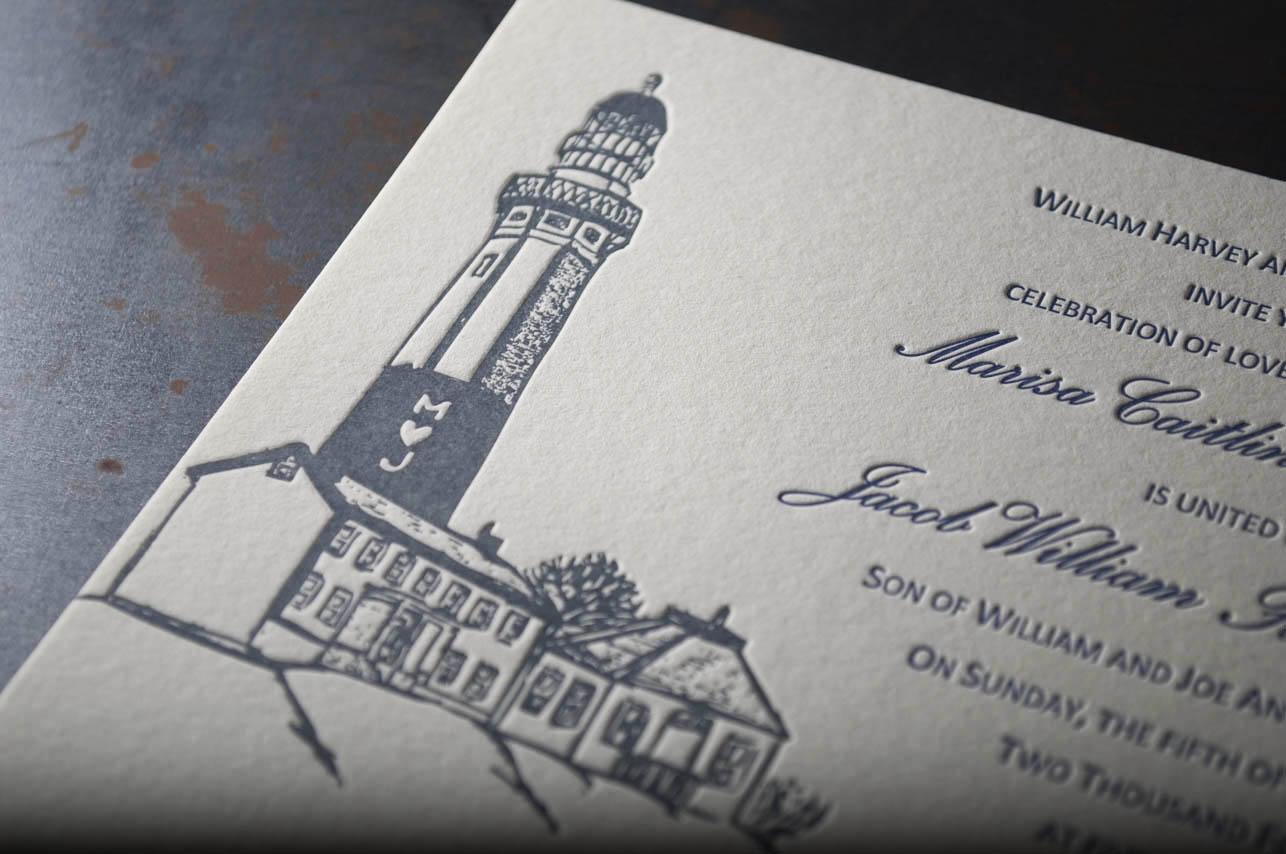 lighthouse letterpress wedding invitation