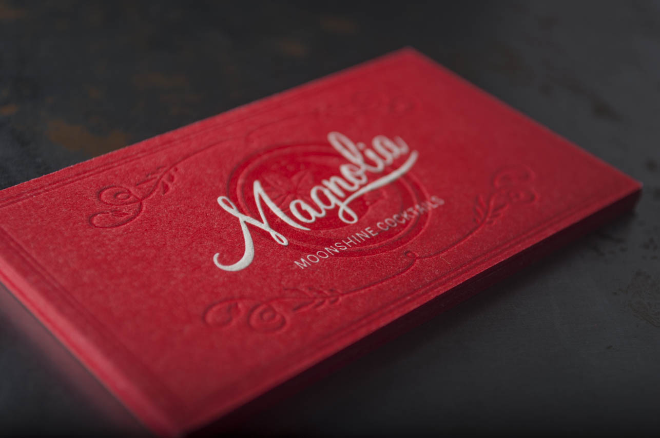 red and white letterpress business card