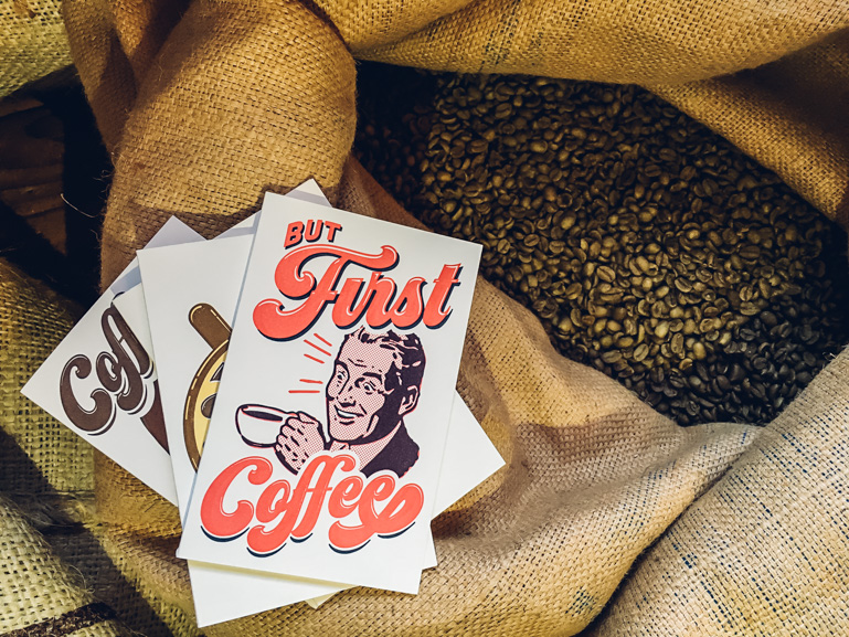 but first coffee greeting card print letterpress printing seattle pike street press cards beans roaster cafe kirkland