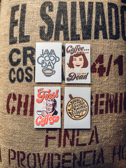 coffee bag greeting card letterpress printing seattle pike street press coffee roaster shop