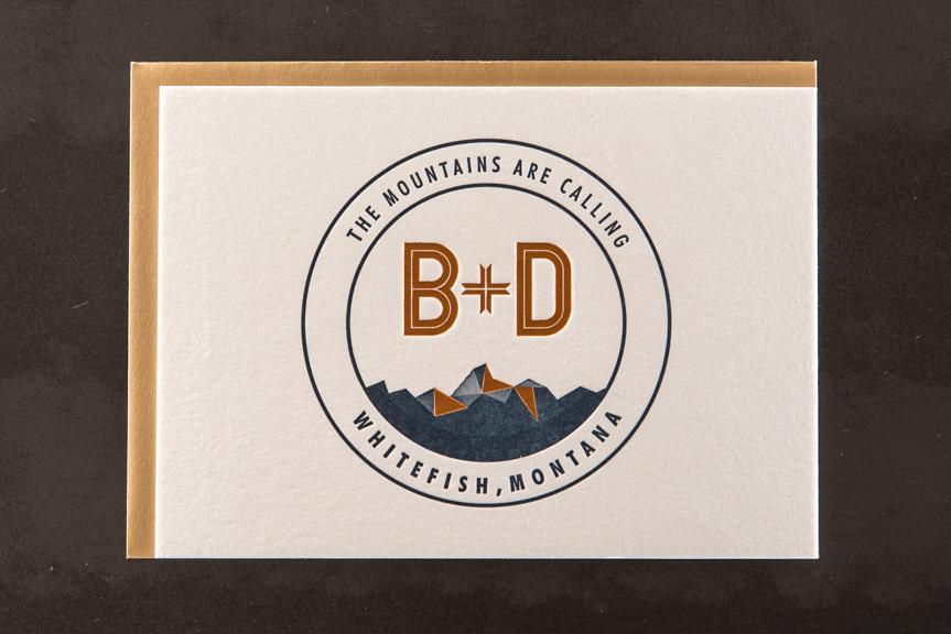 badge design printing seattle letterpress print foil mountains montana