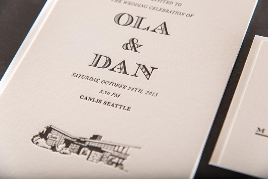 Seattle letterpress wedding invitation
