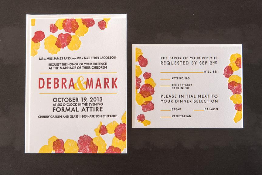 Floral letterpress wedding invitation