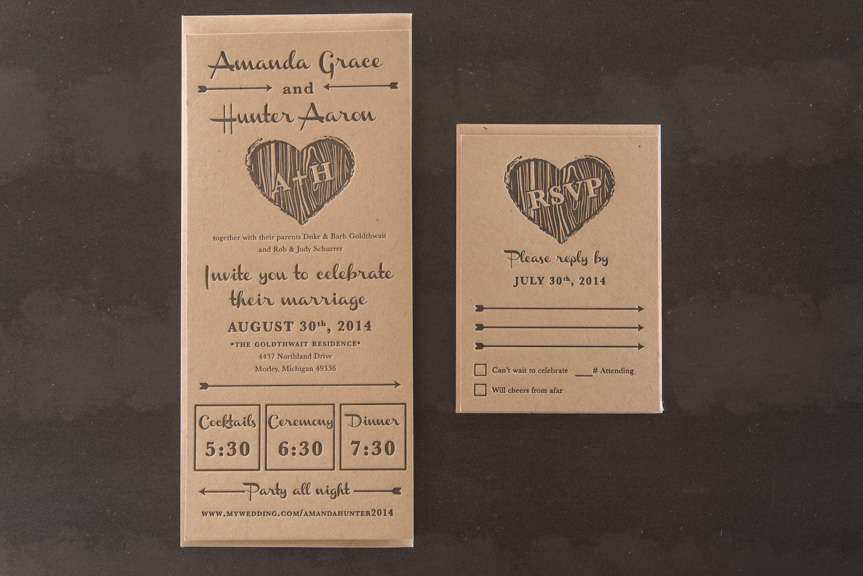 kraft letterpress wedding invitation