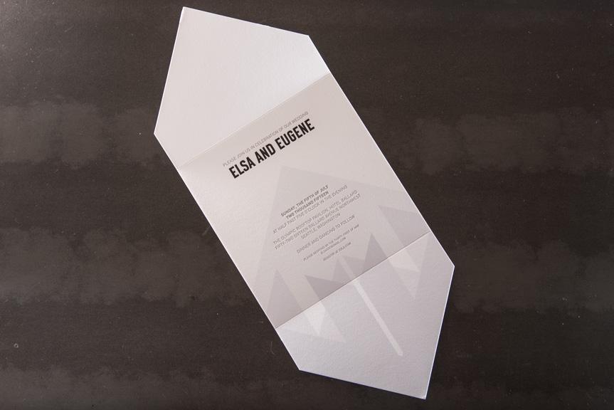 diamond letterpress wedding invitation
