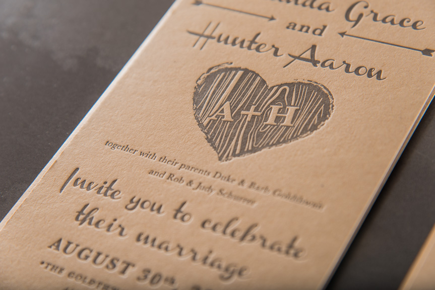invitation heart monogram letterpress printing seattle wedding