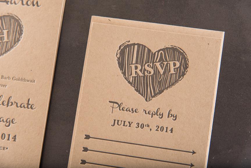 kraft invitation printing seattle letterpress grey on kraft