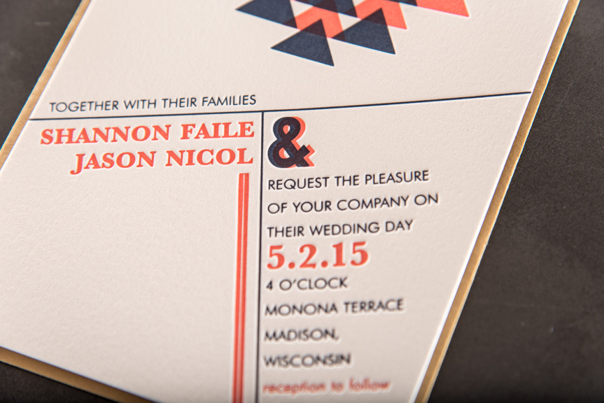 letterpress overprint pink and blue triangles seattle invitations