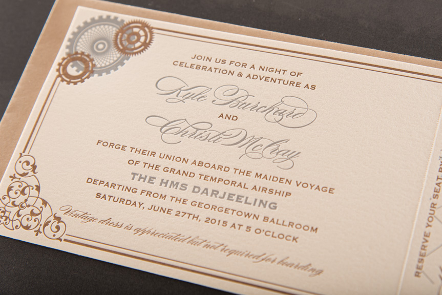 letterpress wedding invitations seattle gears cranks industrial tear off perforation