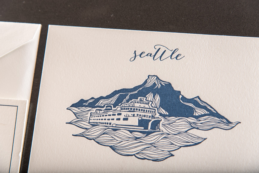 northwest themed wedding invitations custom letterpress printing island ferry mountian