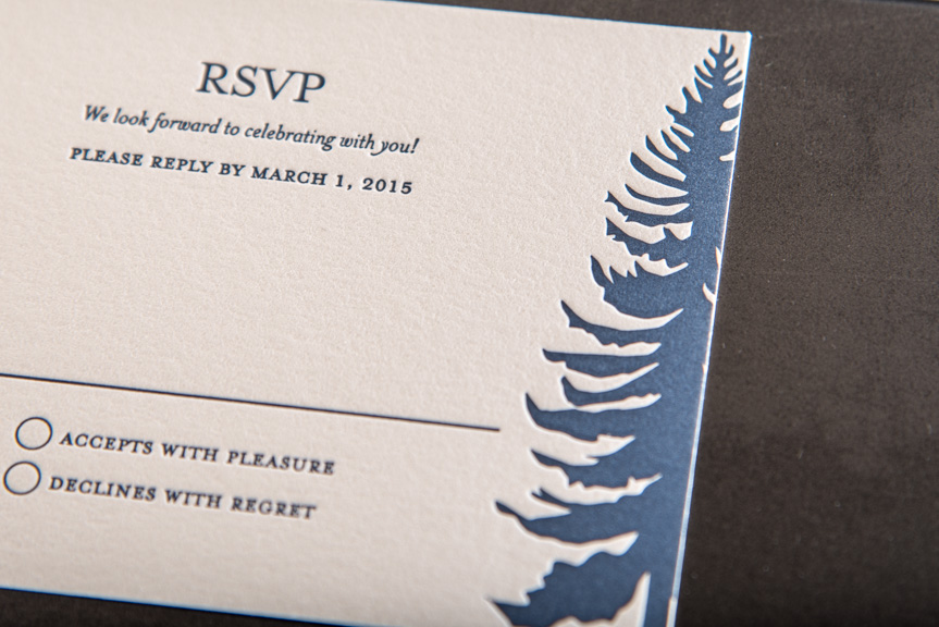 seattle themed wedding invitations custom letterpress printing tree navy custom design