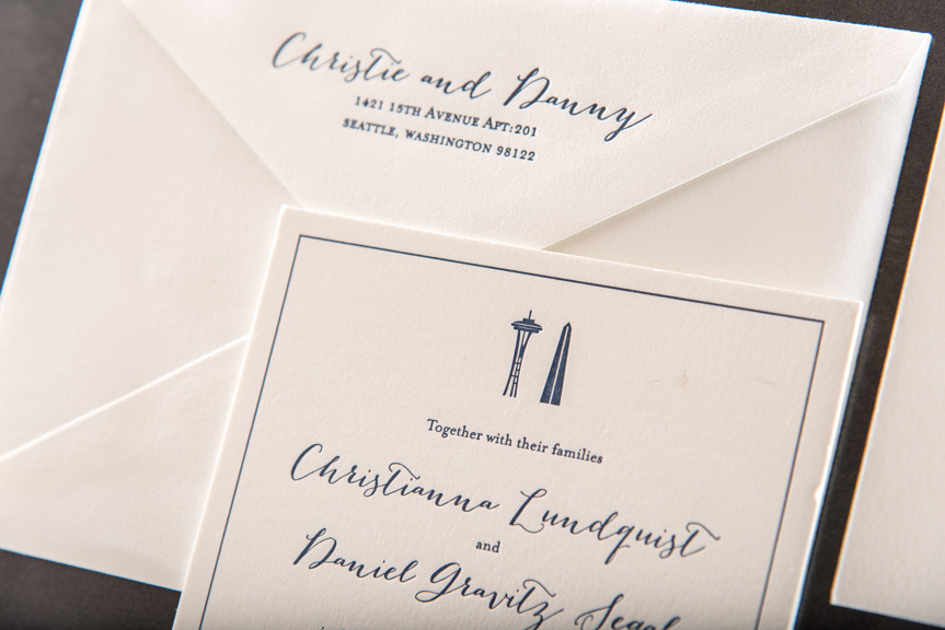 seattle washington themed wedding invitations custom letterpress printing