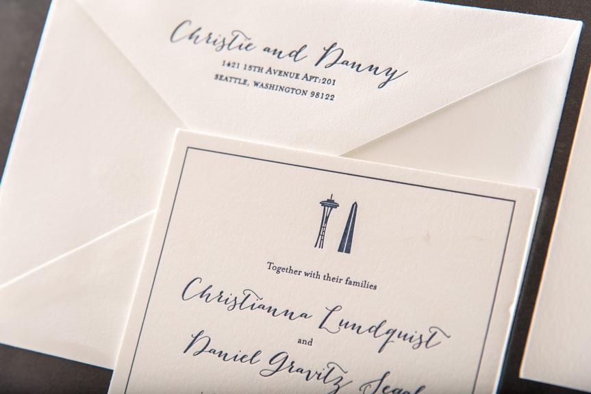seattle washington themed wedding invitations custom letterpress printing