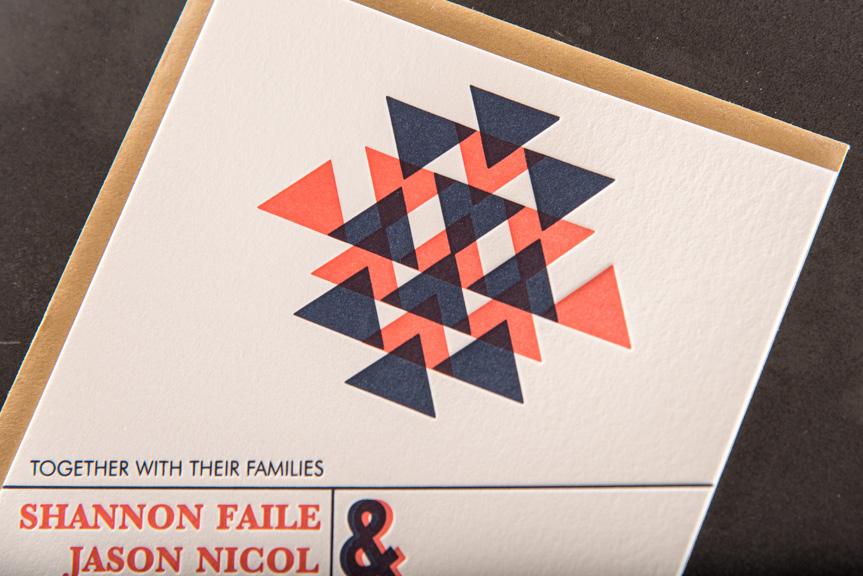 red and blue letterpress wedding invitation