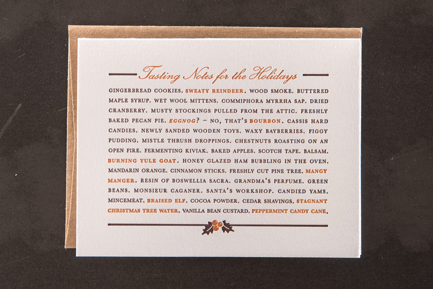 holiday wine letterpress greeting card
