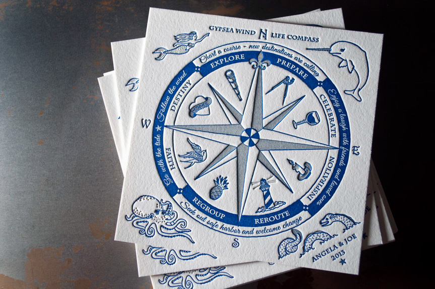 Compass-Invitations-Seattle-Letterpress-printing oregon portland