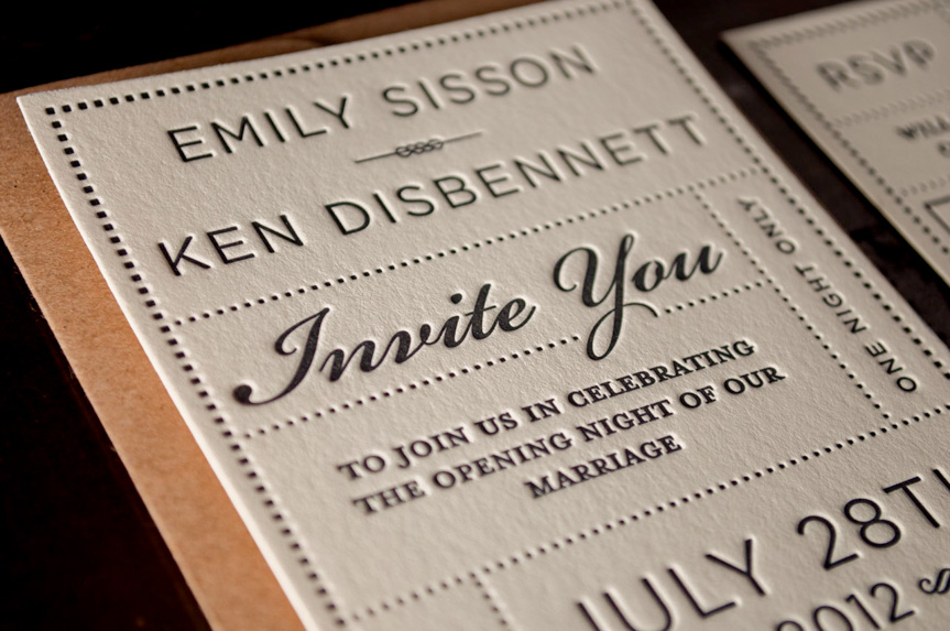 black on cream wedding invitations traditional standard classic design printing seattle