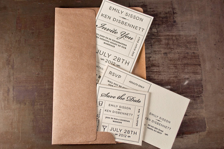classic wedding invitation design printing press seattle
