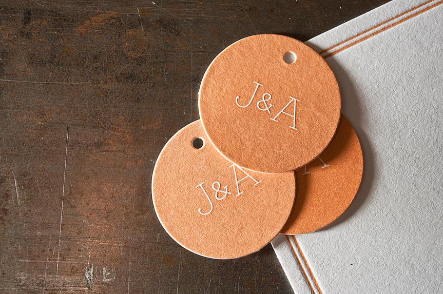 custom die cut wedding tags printing seattle letterpress print