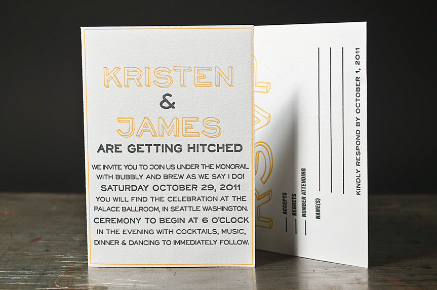 orange letterpress wedding invitations