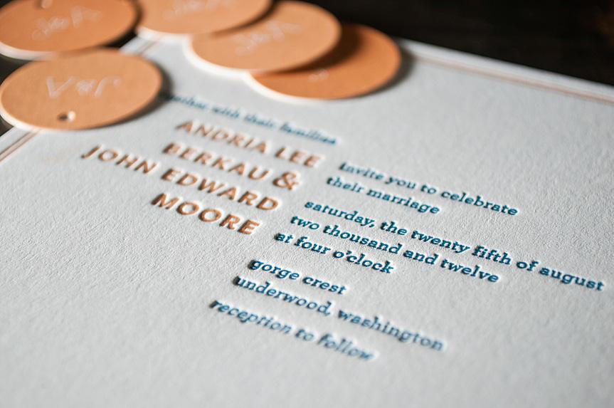 orange letterpress wedding invitations