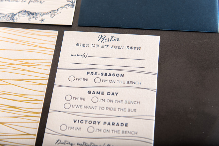 game day rsvp card roster fun letterpress printed