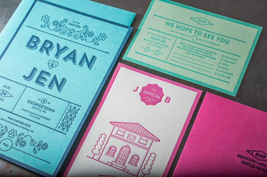 green on green blue on blue letterpress wedding invitations french paper deboss