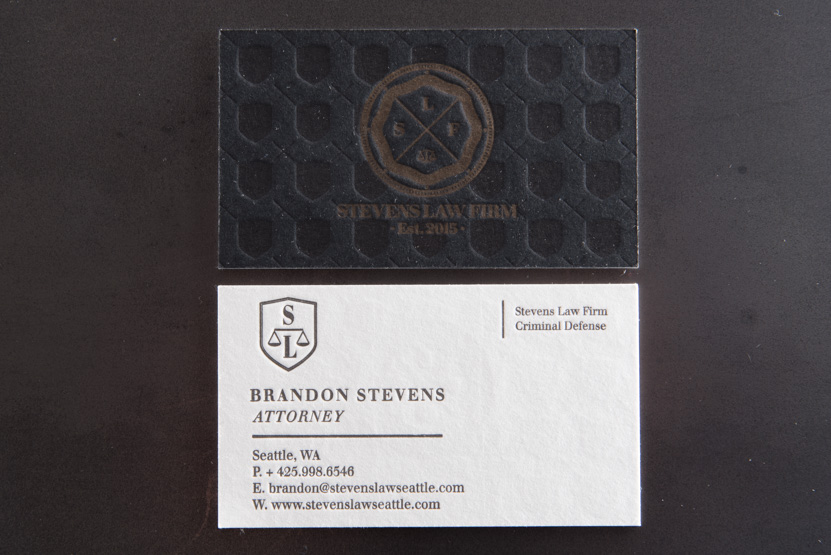 hand printing seattle letterpress black on black press business cards quality lawyer card