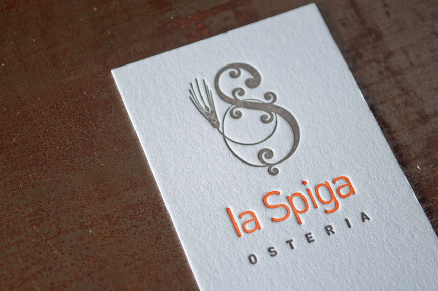 la spiga osteria seattle business card printing pressed