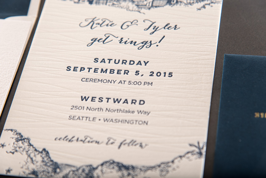 letterpress blind deboss with navy wedding invitations seattle lake union skyline sketch