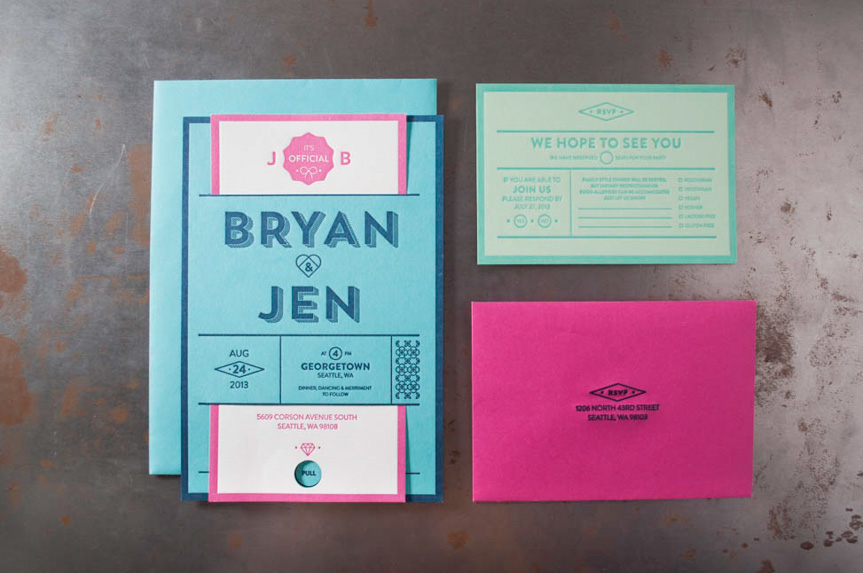 letterpress wedding invitations seattle die cut rsvp slit printing print