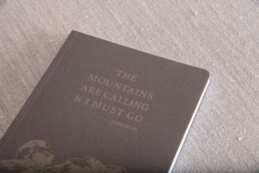 mountains notebook design printing press seattle john muir quote note book print
