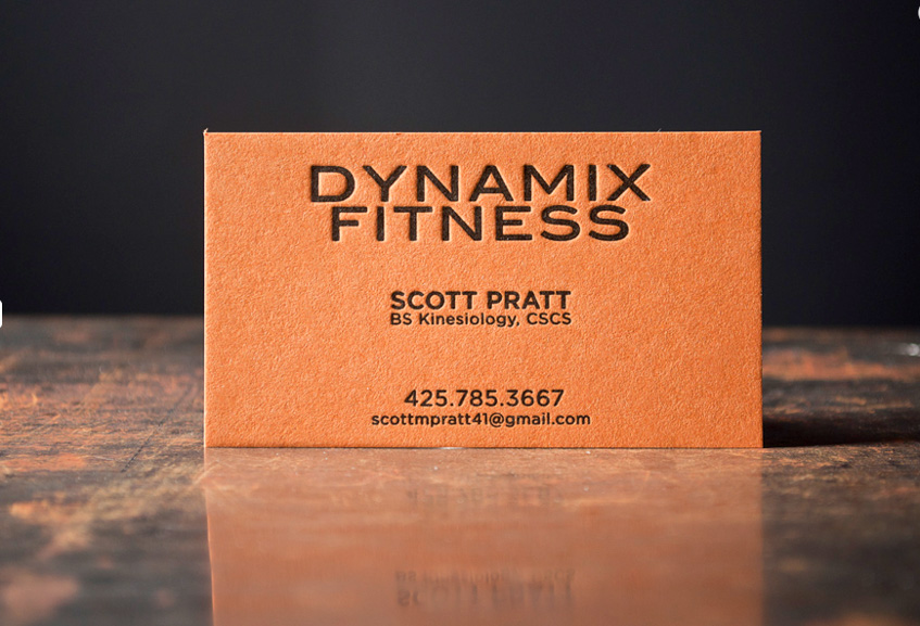 orange on black business cards letterpress gym cards fitness crossfit