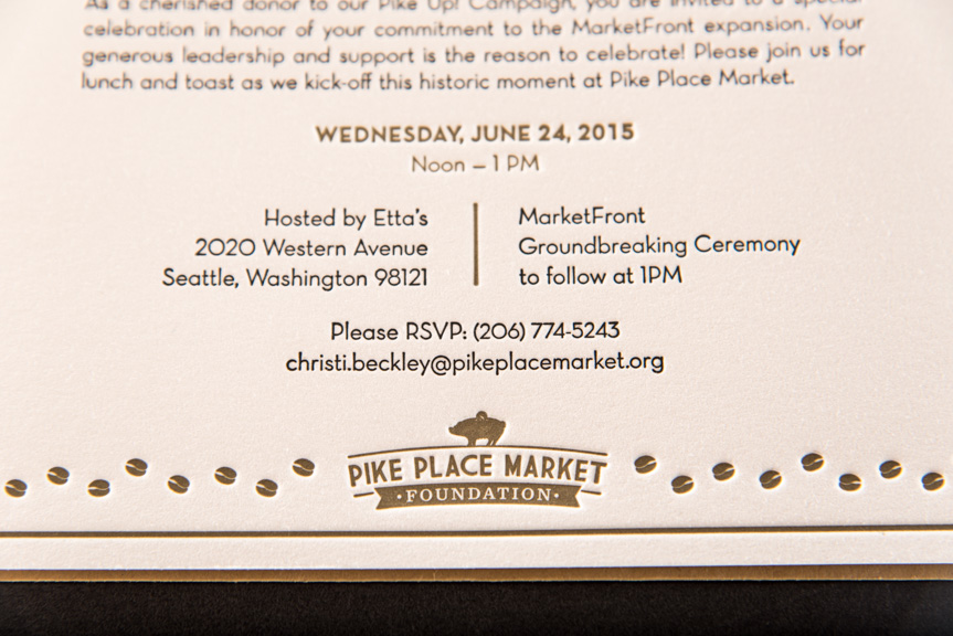 pike place market invitations letterpress printing