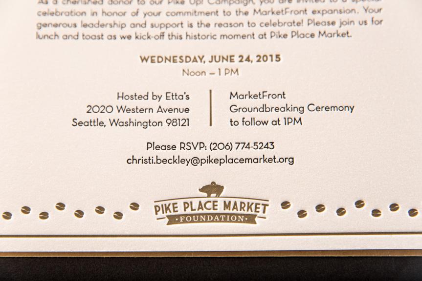 pike place market invitations letterpress printing