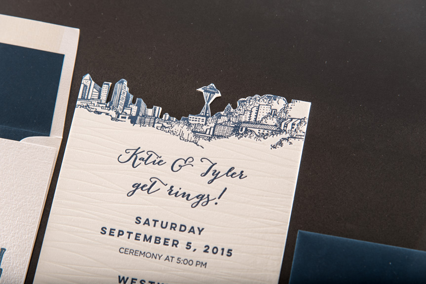 seattle skyline diecut printing seattle letterpress