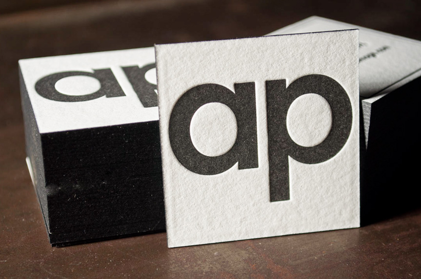 square business card design printing letterpress edge painting seattle