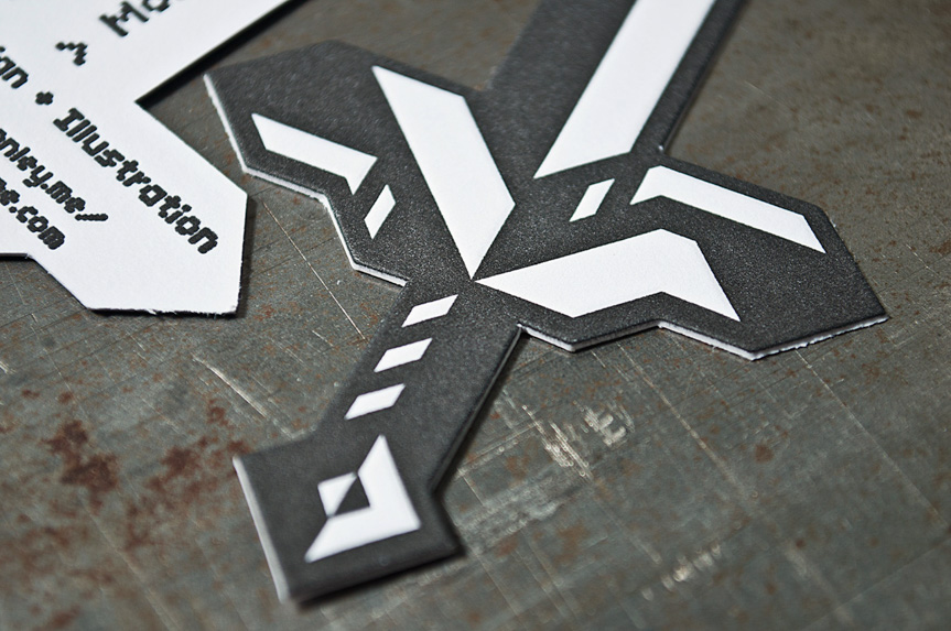 sword business card shape printing seattle