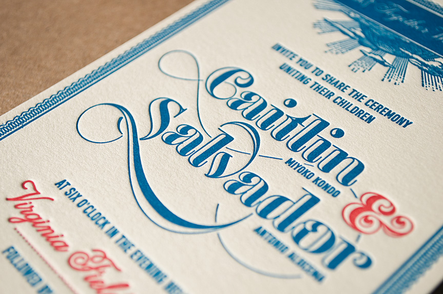 train custom letterpress wedding invitation