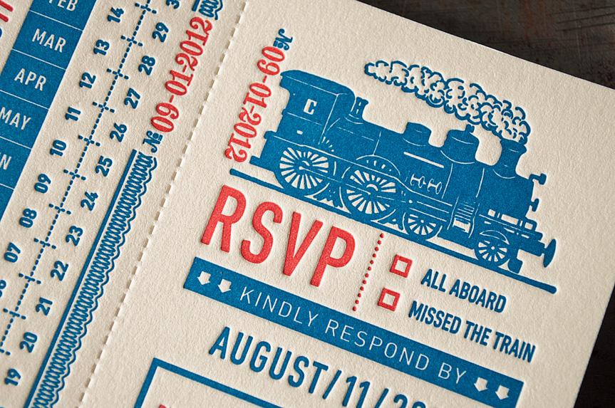 vintage wedding invitation rsvp tear off perforated letterpress seattle