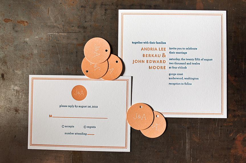 wedding invitation with tag seattle letterpress